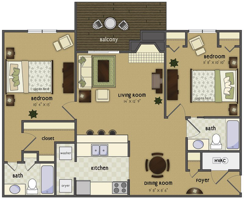 2 Bedrooms 2 Bathrooms Apartment for rent at Wycliffe in Omaha, NE