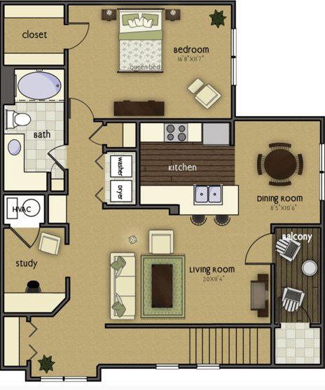 1 Bedroom 1 Bathroom Apartment for rent at Wyndham Villas in Omaha, NE