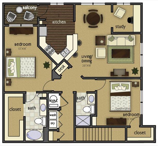 2 Bedrooms 2 Bathrooms Apartment for rent at Wyndham Villas in Omaha, NE