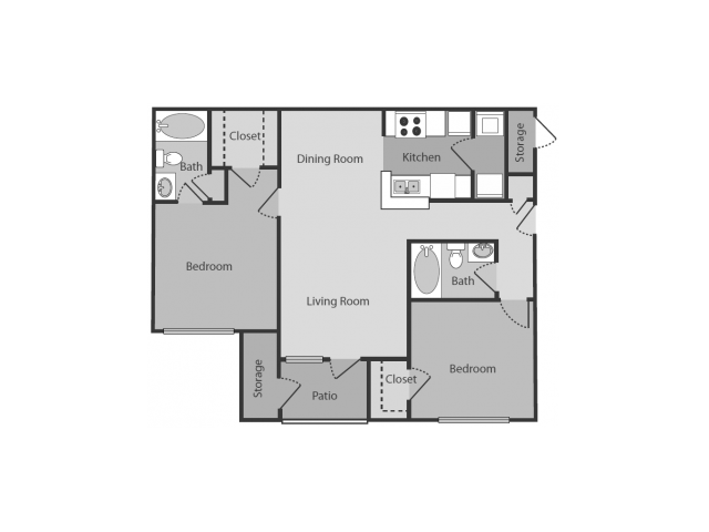 2 Bedrooms 2 Bathrooms Apartment for rent at Midtown Crossing in Raleigh, NC