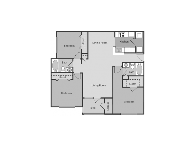 3 Bedrooms 2 Bathrooms Apartment for rent at Midtown Crossing in Raleigh, NC