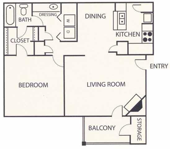 1 Bedroom 1 Bathroom Apartment for rent at Brook Highland Place in Birmingham, AL