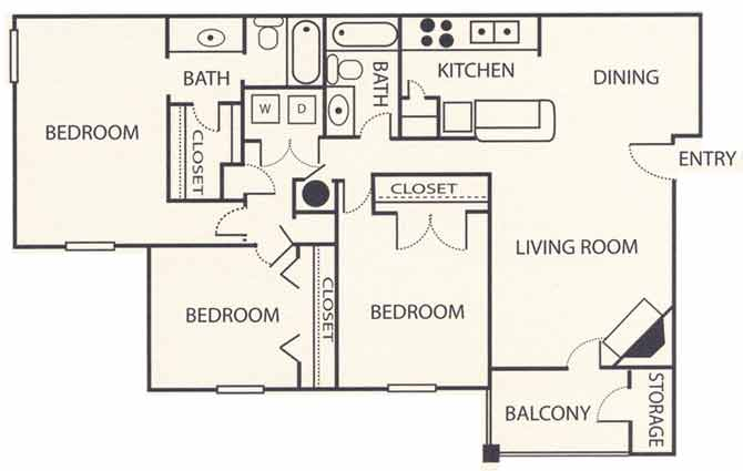 3 Bedrooms 2 Bathrooms Apartment for rent at Brook Highland Place in Birmingham, AL