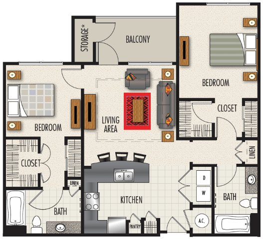 2 Bedrooms 2 Bathrooms Apartment for rent at Heights At Meridian in Durham, NC