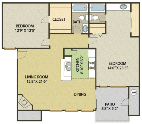 2 Bedrooms 2 Bathrooms Apartment for rent at Springfield in Durham, NC