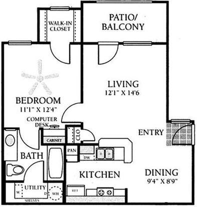 1 Bedroom 1 Bathroom Apartment for rent at Vineyard Springs in San Antonio, TX