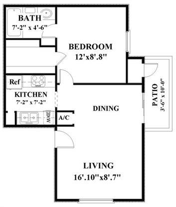 1 Bedroom 1 Bathroom Apartment for rent at Woodbridge in San Antonio, TX
