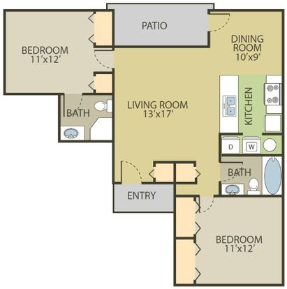 2 Bedrooms 2 Bathrooms Apartment for rent at Fox Chase Apartments in Holland, OH