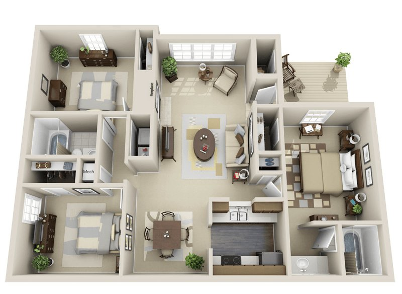 3 Bedrooms 2 Bathrooms Apartment for rent at Woodmere Creek Apartments in Birmingham, AL
