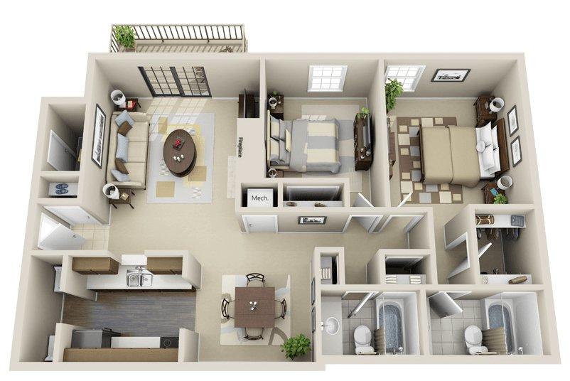 2 Bedrooms 2 Bathrooms Apartment for rent at Woodmere Creek Apartments in Birmingham, AL