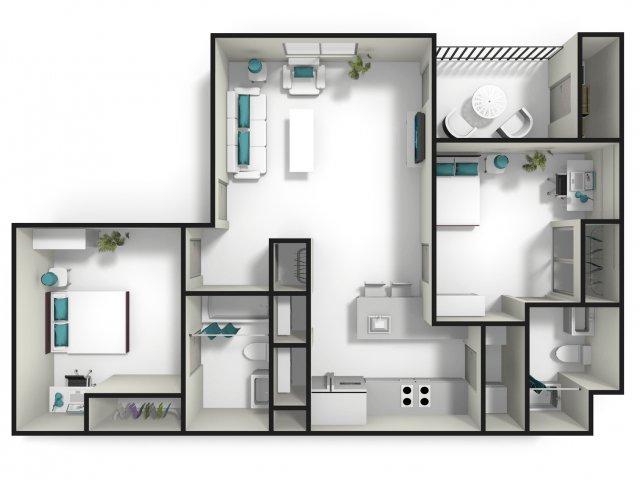 2 Bedrooms 2 Bathrooms Apartment for rent at Tiger Lodge in Auburn, AL