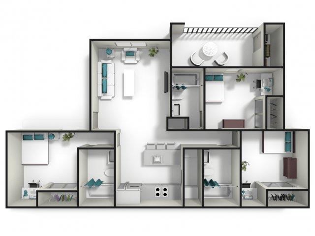 3 Bedrooms 3 Bathrooms Apartment for rent at Tiger Lodge in Auburn, AL