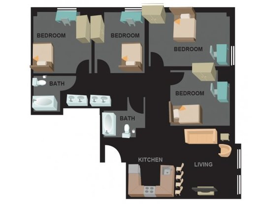 4 Bedrooms 2 Bathrooms Apartment for rent at Auraria Student Lofts in Denver, CO