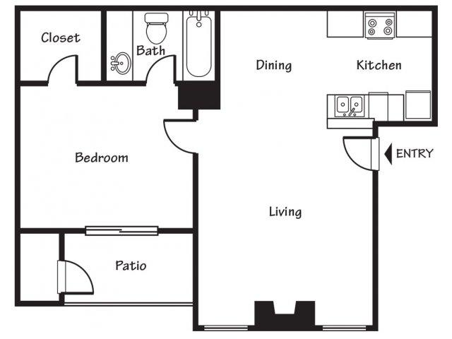 1 Bedroom 1 Bathroom Apartment for rent at Spring Park Apartments in El Paso, TX