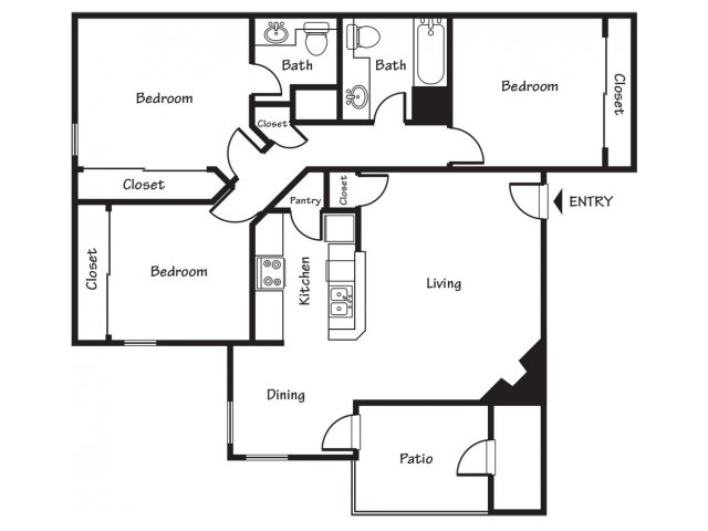 3 Bedrooms 2 Bathrooms Apartment for rent at Spring Park Apartments in El Paso, TX