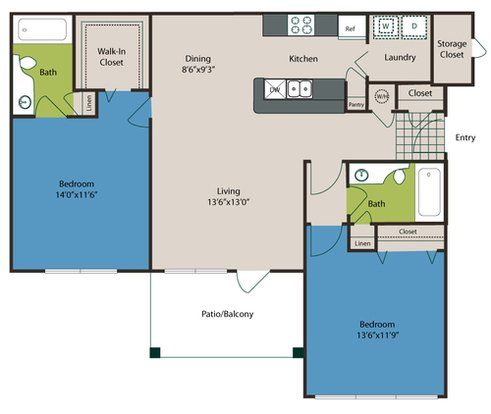 2 Bedrooms 2 Bathrooms Apartment for rent at The Preserve At Ballantyne Commons in Charlotte, NC