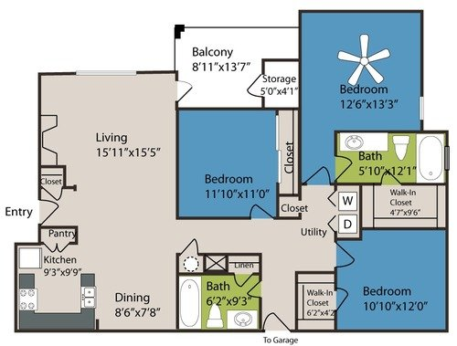 3 Bedrooms 2 Bathrooms Apartment for rent at Marquis At Carmel Commons in Charlotte, NC