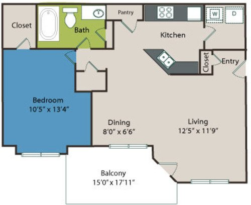 1 Bedroom 1 Bathroom Apartment for rent at Marquis On Edwards Mill in Raleigh, NC