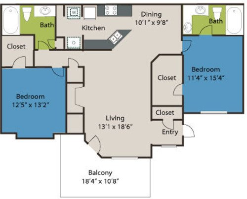 2 Bedrooms 2 Bathrooms Apartment for rent at Marquis On Edwards Mill in Raleigh, NC