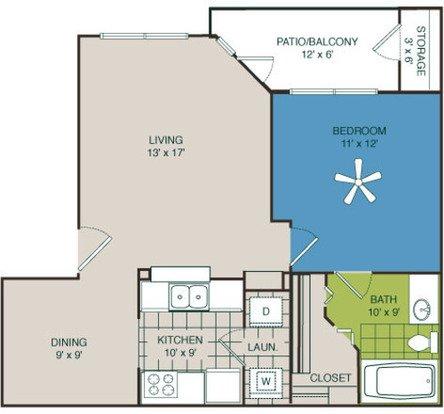 1 Bedroom 1 Bathroom Apartment for rent at Marquis At Deerfield in San Antonio, TX