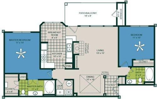 2 Bedrooms 2 Bathrooms Apartment for rent at Marquis At Deerfield in San Antonio, TX