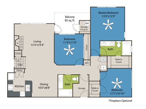 3 Bedrooms 2 Bathrooms Apartment for rent at Marquis Of Carmel Valley in Charlotte, NC