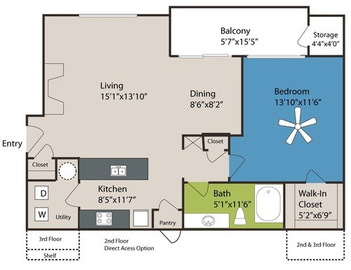1 Bedroom 1 Bathroom Apartment for rent at Marquis At Carmel Commons in Charlotte, NC