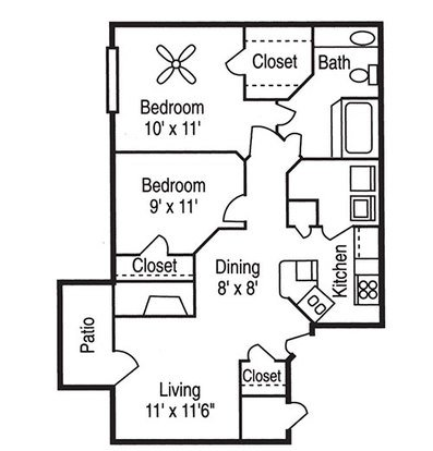 2 Bedrooms 1 Bathroom Apartment for rent at Peppertree in Charlotte, NC