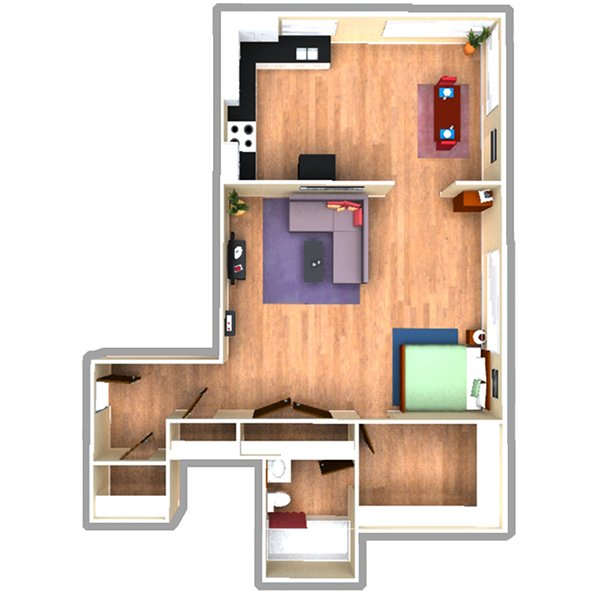 Studio 1 Bathroom Apartment for rent at 970 Pennsylvania Street in Denver, CO