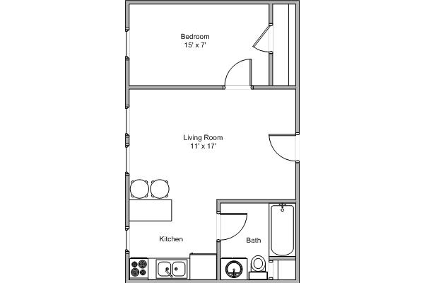 1 Bedroom 1 Bathroom Apartment for rent at Walnut Place in Springfield, MO