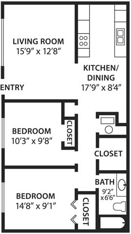 2 Bedrooms 1 Bathroom Apartment for rent at Canyon Ridge Apartments in Albuquerque, NM