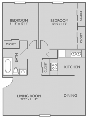 2 Bedrooms 1 Bathroom Apartment for rent at Park On Center Apartments in Omaha, NE