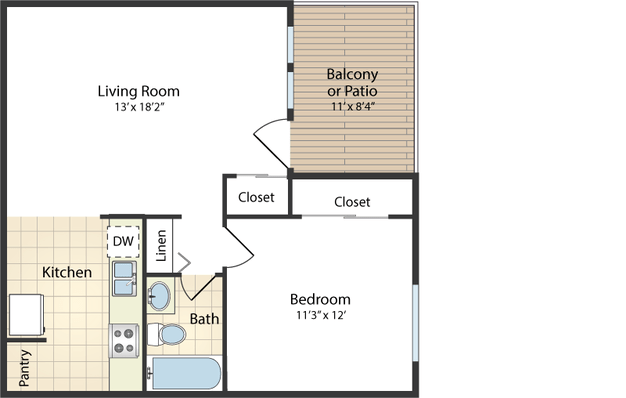 1 Bedroom 1 Bathroom Apartment for rent at Woodman Park Apartments in Dayton, OH