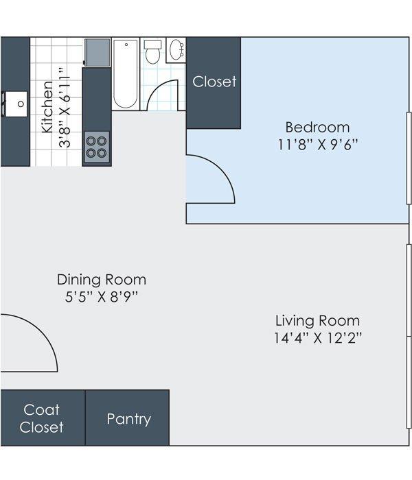 1 Bedroom 1 Bathroom Apartment for rent at Charlton Apartments in Ann Arbor, MI