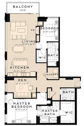 2 Bedrooms 3 Bathrooms Apartment for rent at The Nic On 5th in Minneapolis, MN