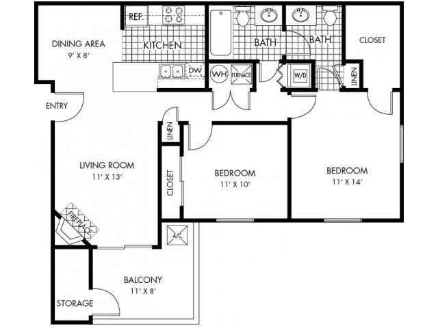 2 Bedrooms 2 Bathrooms Apartment for rent at Ponderosa Villas in Denver, CO