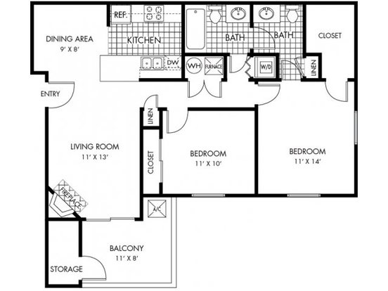 2 Bedrooms 2 Bathrooms Apartment for rent at Ponderosa Villas in Denver, CO