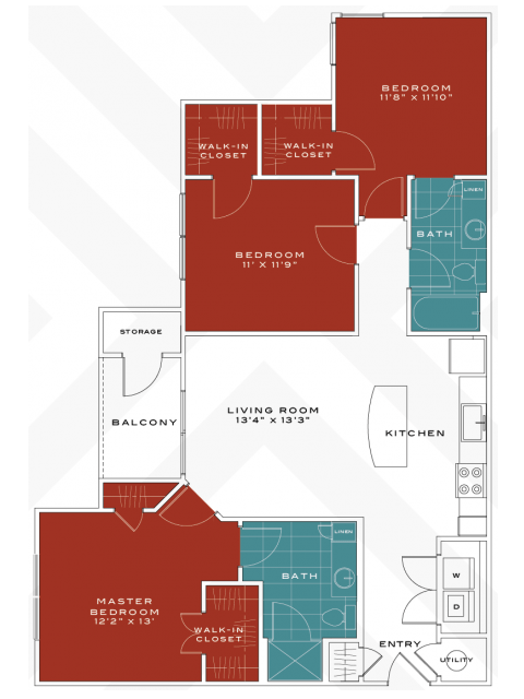 3 Bedrooms 2 Bathrooms Apartment for rent at Vanguard Northlake in Charlotte, NC