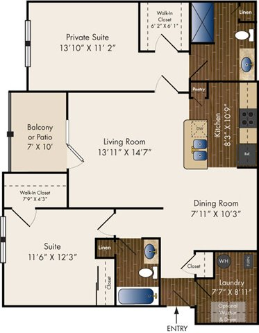 2 Bedrooms 2 Bathrooms Apartment for rent at Brinley Place in Fairborn, OH