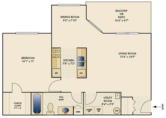 1 Bedroom 1 Bathroom Apartment for rent at The Reserve At Miller Farm in Centerville, OH