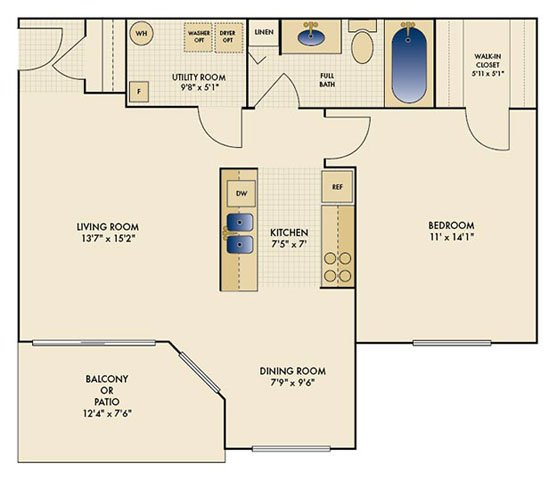1 Bedroom 1 Bathroom Apartment for rent at Shadow Ridge in Louisville, KY