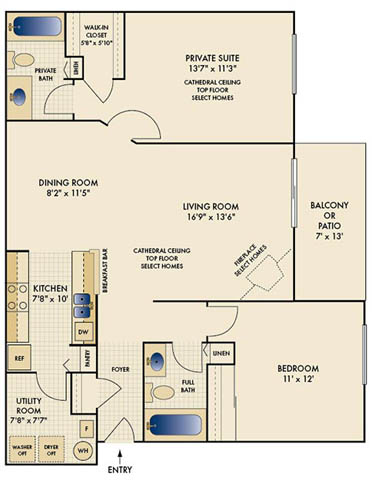 2 Bedrooms 2 Bathrooms Apartment for rent at Waterford Place in Loveland, OH