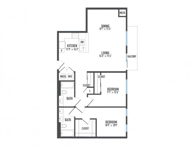2 Bedrooms 2 Bathrooms Apartment for rent at Arsenal 201 in Pittsburgh, PA