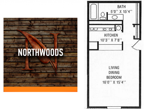 Studio 1 Bathroom Apartment for rent at Northwoods Apartments in Indianapolis, IN