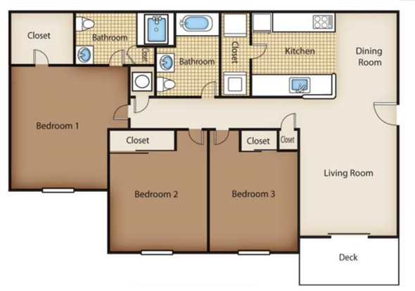 3 Bedrooms 2 Bathrooms Apartment for rent at River Crossing in Charlotte, NC