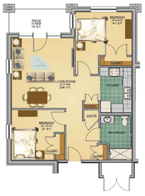 2 Bedrooms 1 Bathroom Apartment for rent at Collingwood Green in Toledo, OH