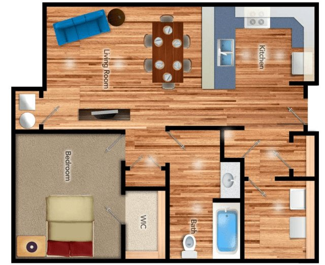 1 Bedroom 1 Bathroom Apartment for rent at The Residenz At Sylvania in Toledo, OH