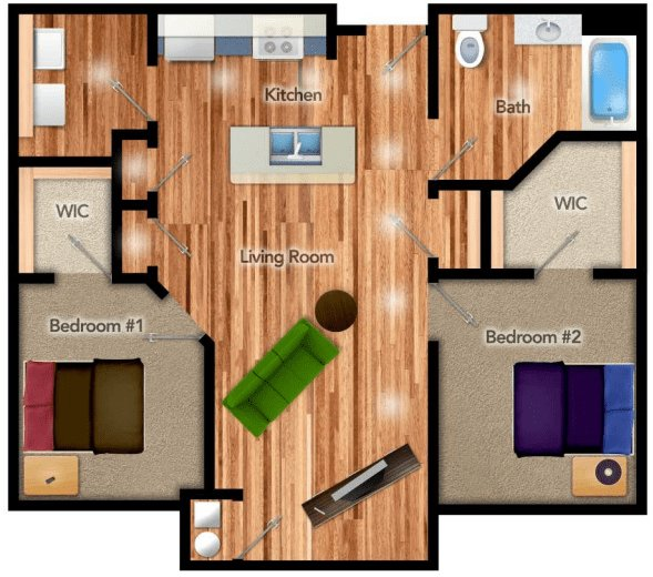 2 Bedrooms 1 Bathroom Apartment for rent at The Residenz At Sylvania in Toledo, OH