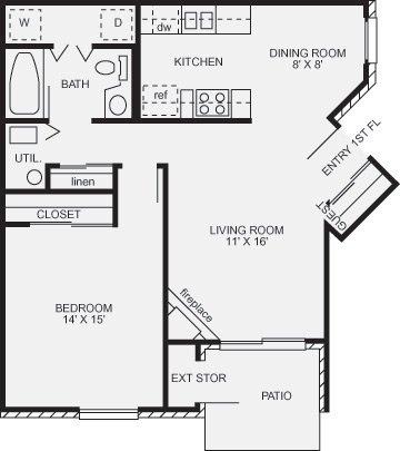 1 Bedroom 1 Bathroom Apartment for rent at Walden Village in Beavercreek, OH