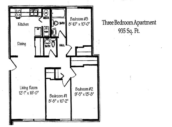 3 Bedrooms 2 Bathrooms Apartment for rent at Landmark Village in Fairborn, OH